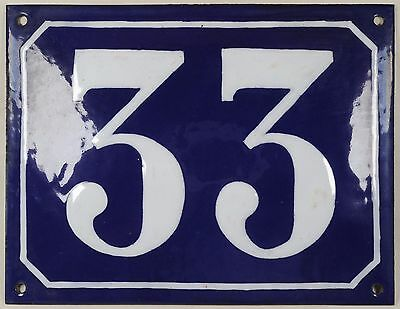 Large old blue French house number 33 door gate plate plaque enamel steel sign