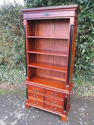 French Empire Style Mahogany Open Bookcase With Drawers