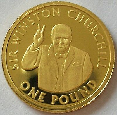 2006 Channel Islands  Alderney  Gold Proof £1 Pound Coin  Winston Churchill