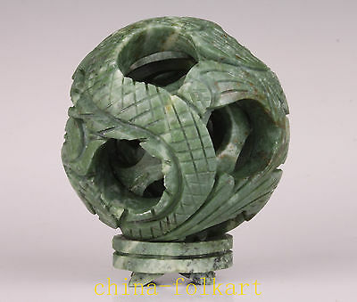 Wonderful Jade Carving Internal Rotation Dragon Statue Transhipment Ball Vintage