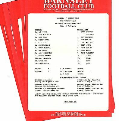 1989-1990 Barnsley Reserves Homes - select the one you want POST FREE
