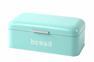 Blue Metal Vintage Glossy Bread Box for Kitchen Food Storage by Juvale