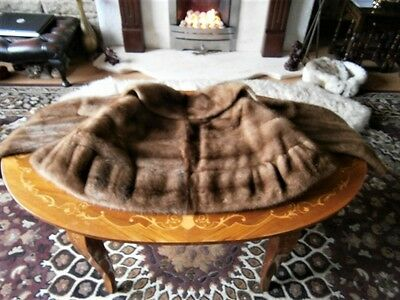 Beautiful vtg PASTEL mink fur bolero/stole, little sleeves, excellent condition!