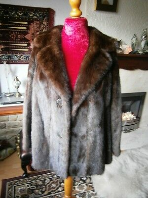 Luxurious vtg MAHOGANY mink fur jacket, back vents & half belt, silky pelts MINT