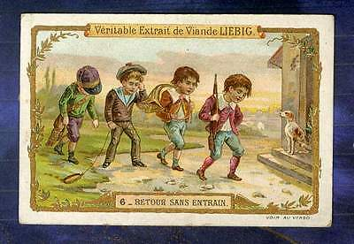 chromo LIEBIG S467 CACCIA CHASSE HUNTING 1896 N°6  COR Horn Old Trade Card