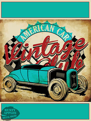 Vintage American Car Club Retro Man-Cave: Home Decor:ideal Gift Metal Sign