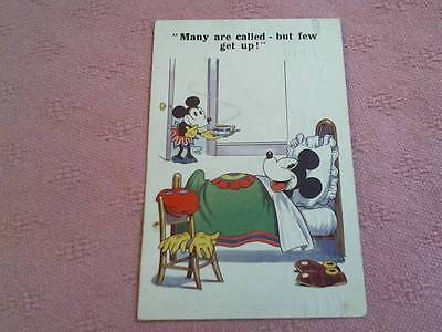 """Posted 1930  Mickey Mouse Postcard """"many Are Called But Few Get Up ! """" London"""