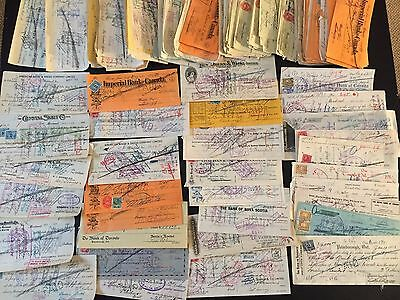 Nice Bulk Lot of 25 1910's-1930's Canada Checks Cheque Many With Excise Stamps!