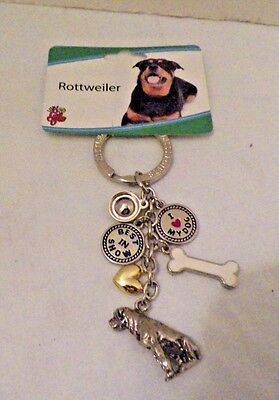 Rottweiler Key Chain Silver Tone With 6 Charms New Free Usa Shipping