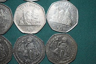 12 x 50p (fifty pence) shaped/regional coins inc Isle of Man, Jersey, Gibraltar.