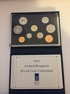 1992 Royal Mint UK Proof 9 Coin Year Set Contains Rare EC 50p