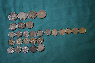 28 Various SILVER COINS - 6 gramme weight MAX. Sixpences, threepences, shillings