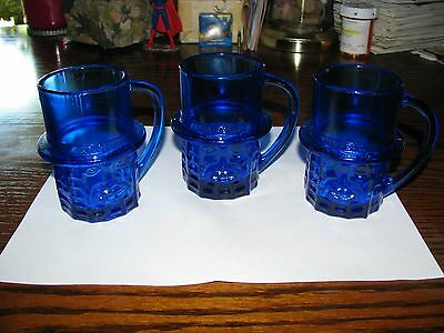 Vintage MR PEANUT - Blue Depression Glass Mug!!  Planters Great Shape!!