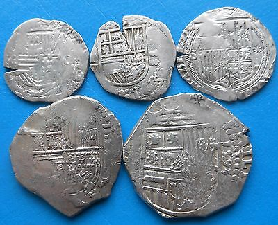 Spanish Colonial LOT 5 silver coins: 2 x 4 reales + 3 x 1 reale
