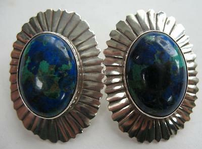 Vintage Navajo Nakai Sterling Silver Azurite Malachite Oval Concho Post Earrings