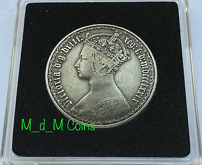 1879 Victoria Gothic Silver Florin EXTREMELY RARE 42 ARCS VARIETY Good Condition