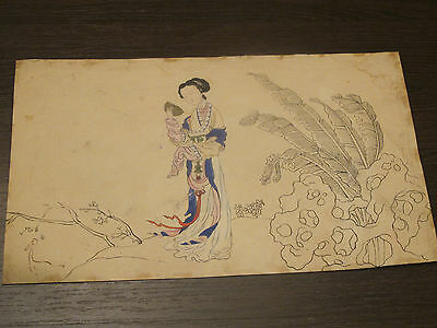 Antique chinese  Beauty Painting lady woman with the fan Ming Qing dynasty