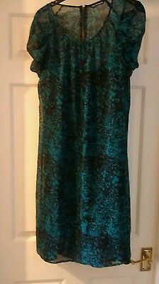 Size 12 M+S Autograph teal and black chiffon dress with underslip