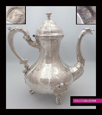 LARGE HEAVY ANTIQUE 1831-1868 BELGIAN FULL STERLING/SOLID SILVER COFFEE POT 28oz