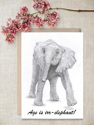calf Ltd Edit art drawing prints 2 sizes A4//A3 or Note Card 2 ELEPHANT baby