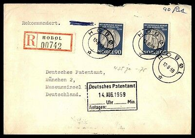 August 12, 1959 Hobol Norway registered cover to Germany Museum