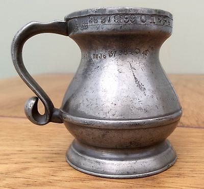 19th Century 1/2 Gill Pewter Baluster Measure With Marks