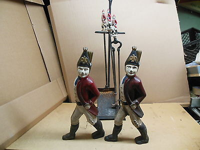 Antique Cast Iron Hessian Soldier Andirons and Fireplace Set vintage tools
