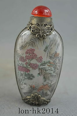 Collectible Handwork Old Miao Silver & Glass Carve Dragon Village Snuff Bottle
