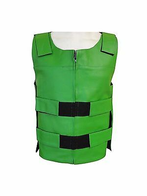 CLEARANCE Men's Bullet Proof Style Green Leather Motorcycle Vest S To 3XL #219G