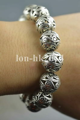 Collection Handwork Old Miao Silver Carve Flower Bead Auspicious Lucky Bracelet