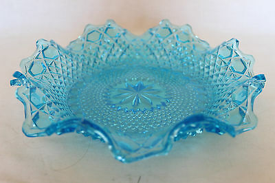 Art Deco Turquoise Blue Glass Shallow Dish by Sowerby