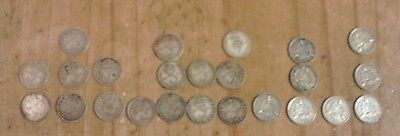 George V 24 x Silver Threepence Coins