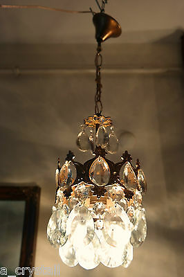 Antique Vİntage Small French Basket style Crystal Chandelier lamp  1940's 7 in