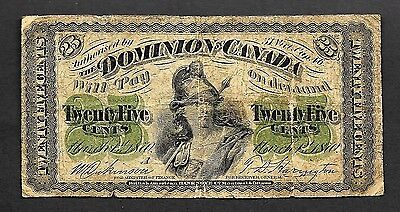 Dominion Of Canada 1870 Series A Twenty Five Cent Shinplaster Note Circulated