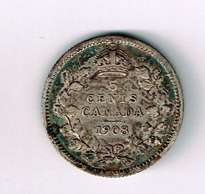 Canada 1908 Large 8 Five Cents King Edward Vii Sterling Silver Canadian Coin