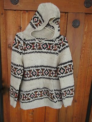 VINTAGE 1970s AUTHENTIC COWICHAN HAND KNIT, HANDSPUN WOOL SWEATER