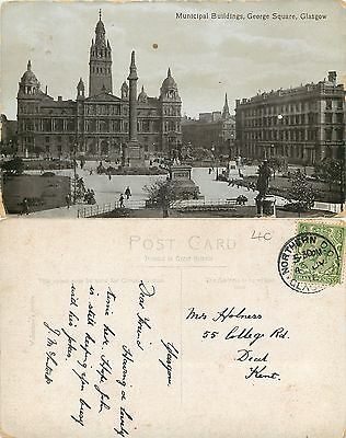 a1038 George Square, Glasgow, Scotland postcard posted 1916 stamp