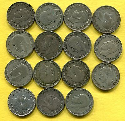 1920-44 Great Britain Silver Florins - Circulated - 15 Different