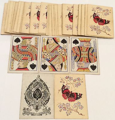 ANTIQUE 1860 GOODALL * BUTTERFLY + FLOWERS * PLAYING CARDS Square Corners  52/52