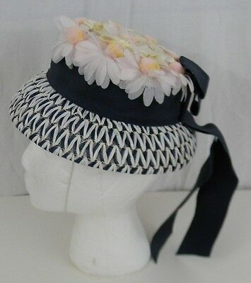 Vintage 1960s Girls Easter Dressy Hat w/ Pink Daisies & Navy Blue White Church