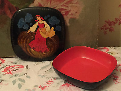 Beautiful Russian Box Lacquered Metal Lidded Vintage Folk Art Black and Red
