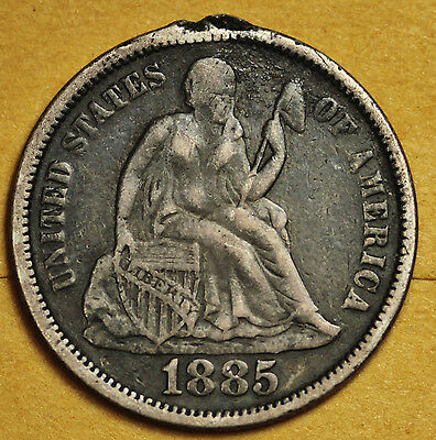 1885 Liberty Seated Dime.  Love Token.  92770