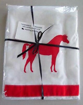 Arabian / Arab Horse White Shower Curtain with red ribbons and red horses SALE
