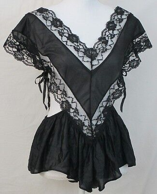 Lingerie Teddy One Piece Size L Black Lace Vintage First Lady Nylon Victorian