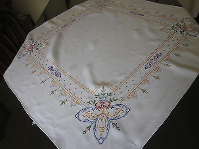 2 Vintage c1940s hand-worked SQUARE WHITE SUPPER CLOTHS embroidery/cross-stitch