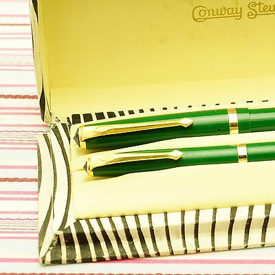 Vintage Conway Stewart 106 Forest Green Fountain Pen Pencil ZEBRA BOX-SET NEW
