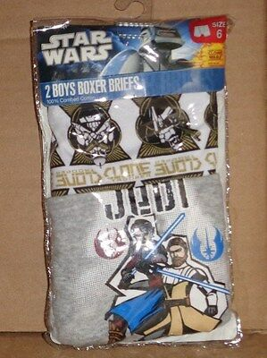 New 2 pack Star Wars Jedi Knights & Clone Troopers Boxer Briefs Boy's size 6