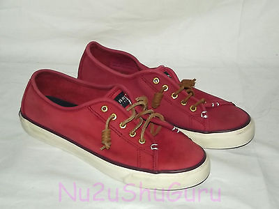 SPERRY TOP SIDER Seacoast Washable Red Wine Leather Boat Shoes Womens Size 9 M