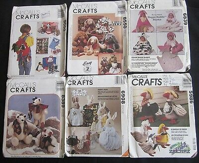 Lot of 6 McCALLS CRAFTS sewing patterns mostlyToys also Baby Blanket ALL UNCUT