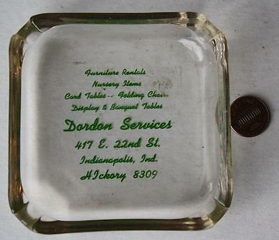 1950-60s Era Indianapolis,Indiana Dorden Furniture store glass ashtray-22nd St.!